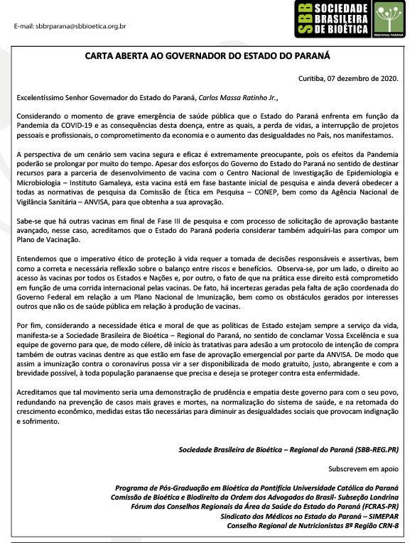 CARTA ABERTA AO GOVERNADOR DO ESTADO DO PARANÁ